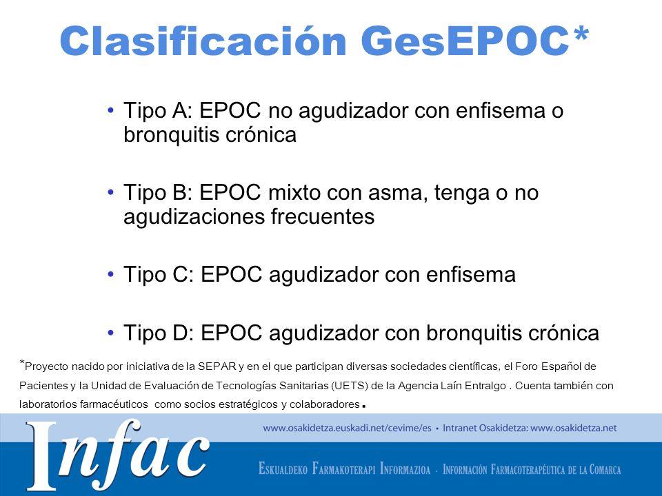 http://www.osakidetza.euskadi.net Clasificación GesEPOC* Tipo A: EPOC no agudizador con enfisema o bronquitis crónica Tipo B: EPOC mixto con asma, ten