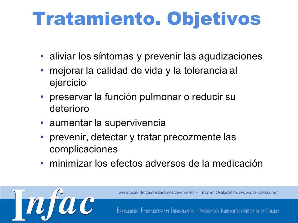 http://www.osakidetza.euskadi.net Tratamiento. Objetivos aliviar los síntomas y prevenir las agudizaciones mejorar la calidad de vida y la tolerancia