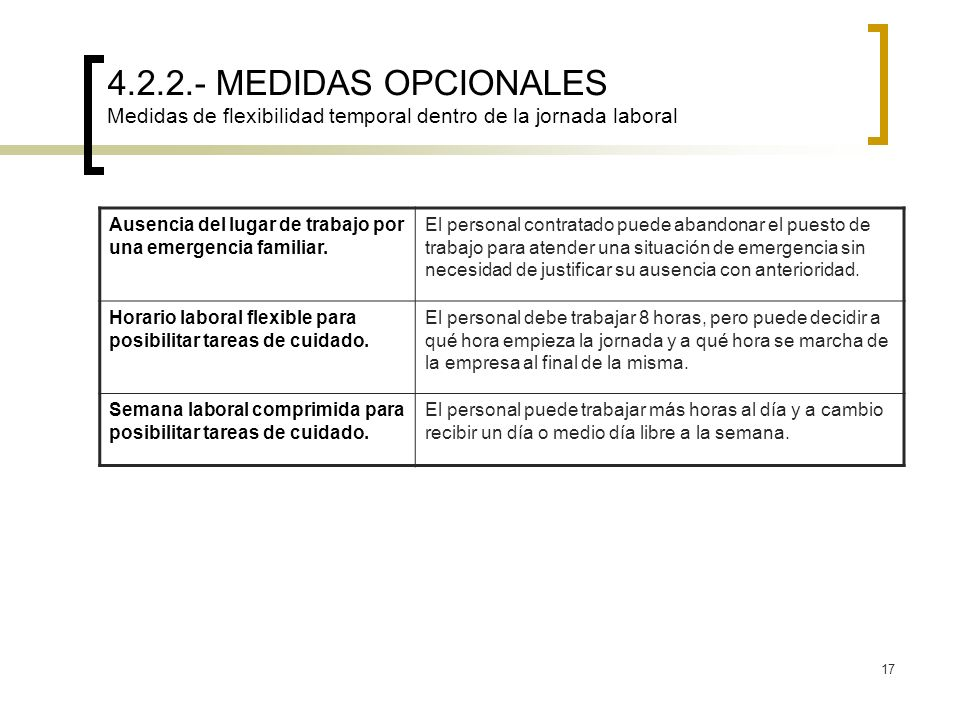 17 4.2.2.- MEDIDAS OPCIONALES Medidas de flexibilidad temporal dentro de la jornada laboral Ausencia del lugar de trabajo por una emergencia familiar.