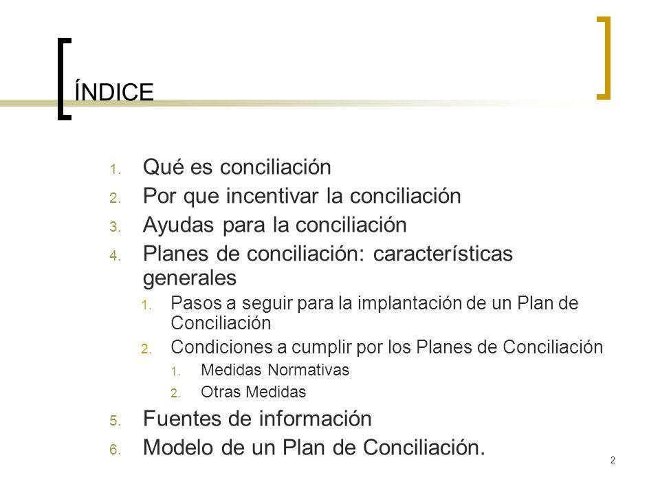 2 ÍNDICE 1. Qué es conciliación 2. Por que incentivar la conciliación 3. Ayudas para la conciliación 4. Planes de conciliación: características genera