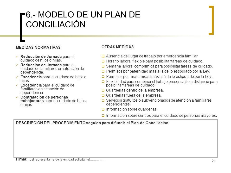 21 6.- MODELO DE UN PLAN DE CONCILIACIÓN MEDIDAS NORMATIVAS Reducción de Jornada para el cuidado de hijos o hijas. Reducción de Jornada para el cuidad