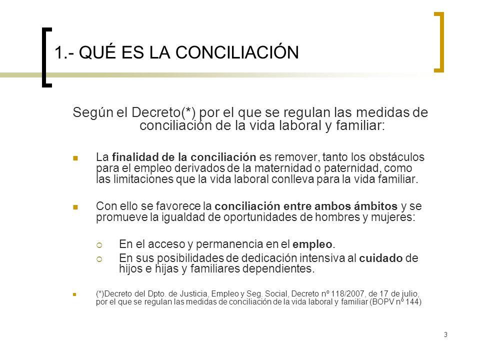 3 1.- QUÉ ES LA CONCILIACIÓN Según el Decreto(*) por el que se regulan las medidas de conciliación de la vida laboral y familiar: La finalidad de la c