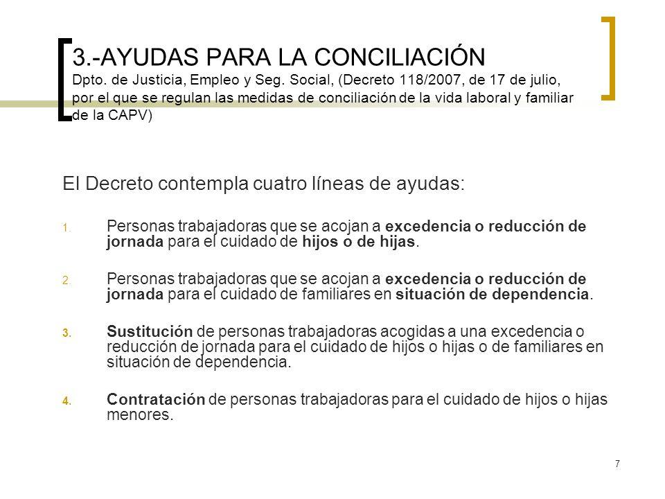 7 3.-AYUDAS PARA LA CONCILIACIÓN Dpto. de Justicia, Empleo y Seg. Social, (Decreto 118/2007, de 17 de julio, por el que se regulan las medidas de conc