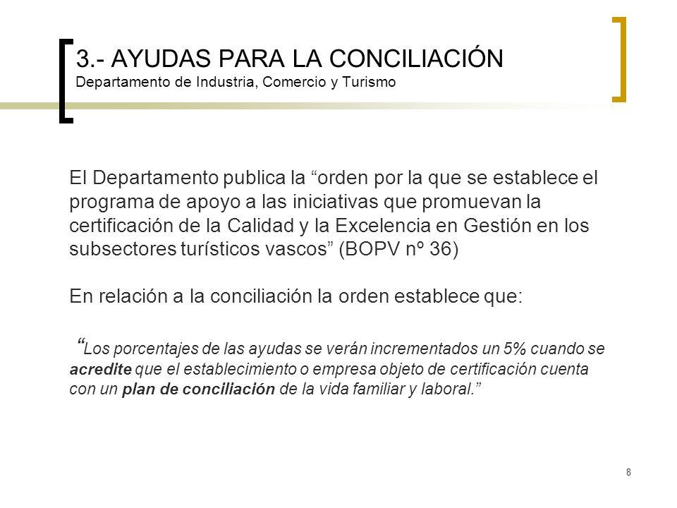 8 3.- AYUDAS PARA LA CONCILIACIÓN Departamento de Industria, Comercio y Turismo El Departamento publica la orden por la que se establece el programa d