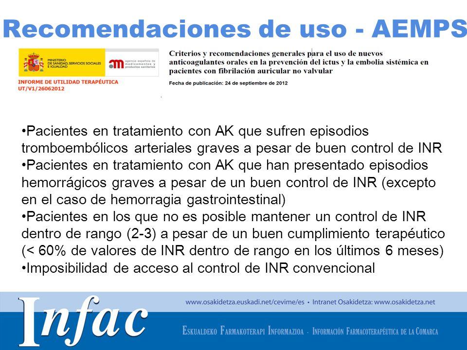 http://www.osakidetza.euskadi.net Pacientes en tratamiento con AK que sufren episodios tromboembólicos arteriales graves a pesar de buen control de IN