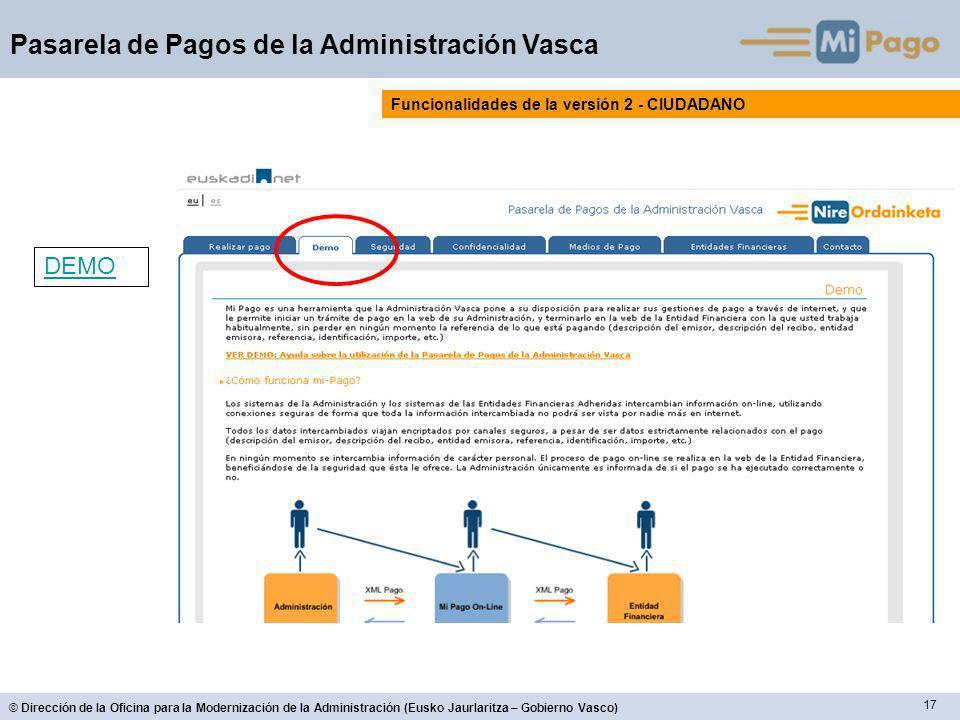17 © Dirección de la Oficina para la Modernización de la Administración (Eusko Jaurlaritza – Gobierno Vasco) Pasarela de Pagos de la Administración Vasca Funcionalidades de la versión 2 - CIUDADANO DEMO
