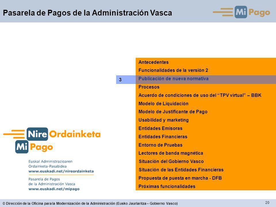 20 © Dirección de la Oficina para la Modernización de la Administración (Eusko Jaurlaritza – Gobierno Vasco) Pasarela de Pagos de la Administración Va