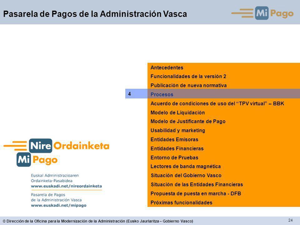 24 © Dirección de la Oficina para la Modernización de la Administración (Eusko Jaurlaritza – Gobierno Vasco) Pasarela de Pagos de la Administración Va
