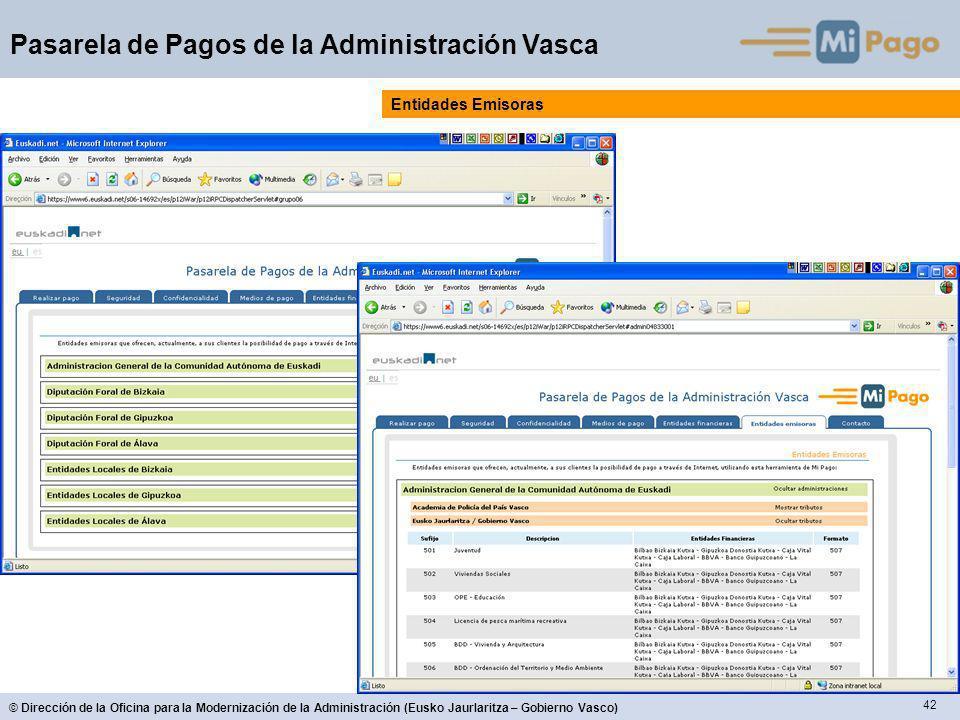 42 © Dirección de la Oficina para la Modernización de la Administración (Eusko Jaurlaritza – Gobierno Vasco) Pasarela de Pagos de la Administración Vasca Entidades Emisoras