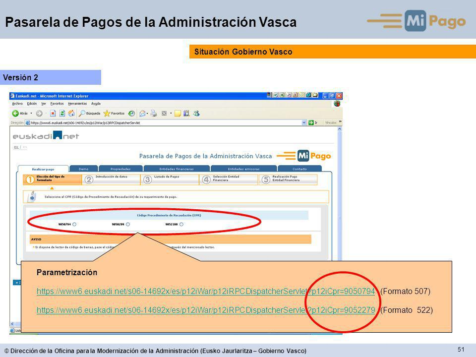 51 © Dirección de la Oficina para la Modernización de la Administración (Eusko Jaurlaritza – Gobierno Vasco) Pasarela de Pagos de la Administración Vasca Situación Gobierno Vasco Versión 2 Parametrización https://www6.euskadi.net/s06-14692x/es/p12iWar/p12iRPCDispatcherServlet p12iCpr=9050794https://www6.euskadi.net/s06-14692x/es/p12iWar/p12iRPCDispatcherServlet p12iCpr=9050794 (Formato 507) https://www6.euskadi.net/s06-14692x/es/p12iWar/p12iRPCDispatcherServlet p12iCpr=9052279https://www6.euskadi.net/s06-14692x/es/p12iWar/p12iRPCDispatcherServlet p12iCpr=9052279 (Formato 522)