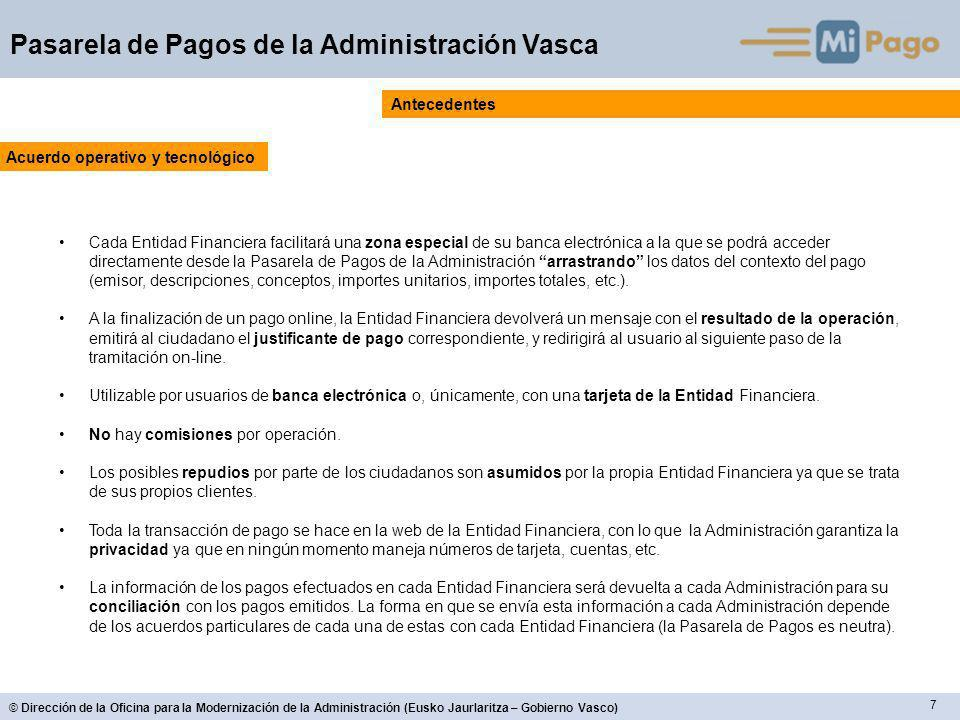18 © Dirección de la Oficina para la Modernización de la Administración (Eusko Jaurlaritza – Gobierno Vasco) Pasarela de Pagos de la Administración Vasca Funcionalidades de la versión 2 – EMPLEADO PÚBLICO