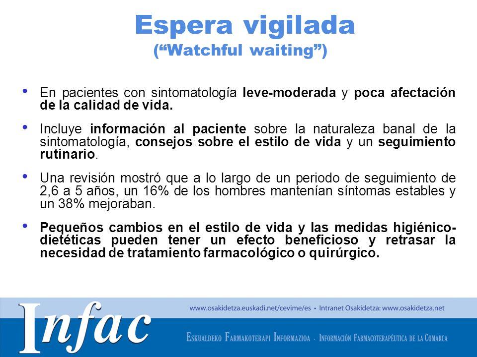 http://www.osakidetza.euskadi.net Tratamiento farmacológico En pacientes con síntomas de moderados a severos (IPSS 8) y/o que no mejoran de forma satisfactoria con las modificaciones en el estilo de vida.