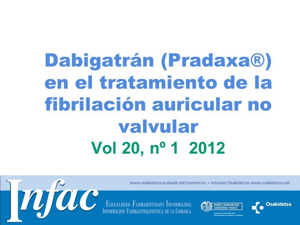 http://www.osakidetza.euskadi.net Dabigatrán (Pradaxa®) en el tratamiento de la fibrilación auricular no valvular Vol 20, nº 1 2012