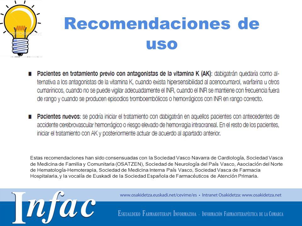 http://www.osakidetza.euskadi.net Recomendaciones de uso Estas recomendaciones han sido consensuadas con la Sociedad Vasco Navarra de Cardiología, Soc