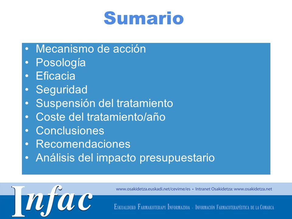 http://www.osakidetza.euskadi.net Sumario Mecanismo de acción Posología Eficacia Seguridad Suspensión del tratamiento Coste del tratamiento/año Conclu