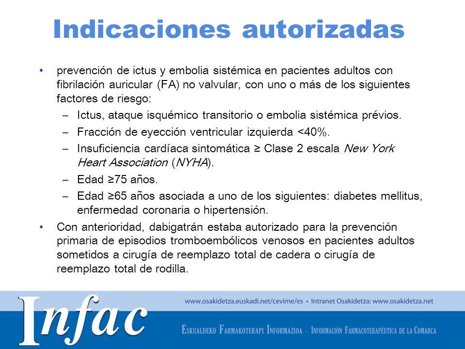 http://www.osakidetza.euskadi.net Indicaciones autorizadas prevención de ictus y embolia sistémica en pacientes adultos con fibrilación auricular (FA)