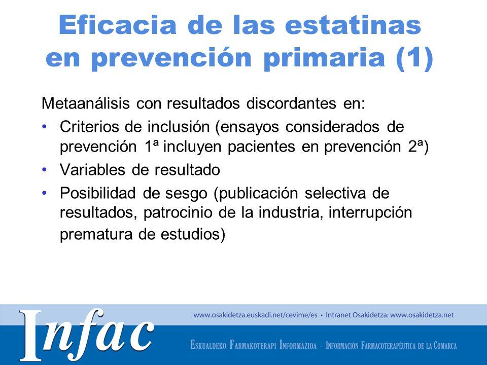 http://www.osakidetza.euskadi.net Eficacia de las estatinas en prevención primaria (1) Metaanálisis con resultados discordantes en: Criterios de inclu