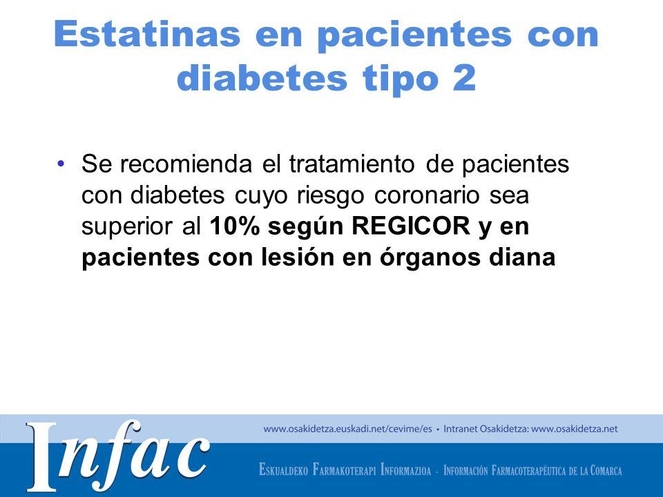 http://www.osakidetza.euskadi.net Estatinas en pacientes con diabetes tipo 2 Se recomienda el tratamiento de pacientes con diabetes cuyo riesgo corona