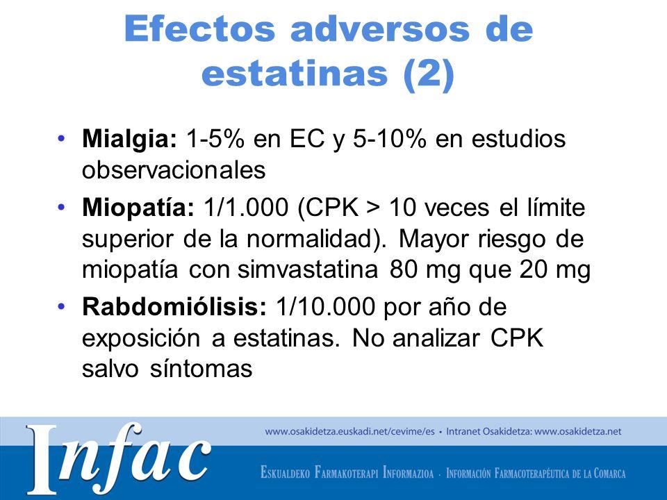 http://www.osakidetza.euskadi.net Efectos adversos de estatinas (2) Mialgia: 1-5% en EC y 5-10% en estudios observacionales Miopatía: 1/1.000 (CPK > 1