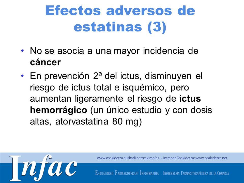 http://www.osakidetza.euskadi.net Efectos adversos de estatinas (3) No se asocia a una mayor incidencia de cáncer En prevención 2ª del ictus, disminuy