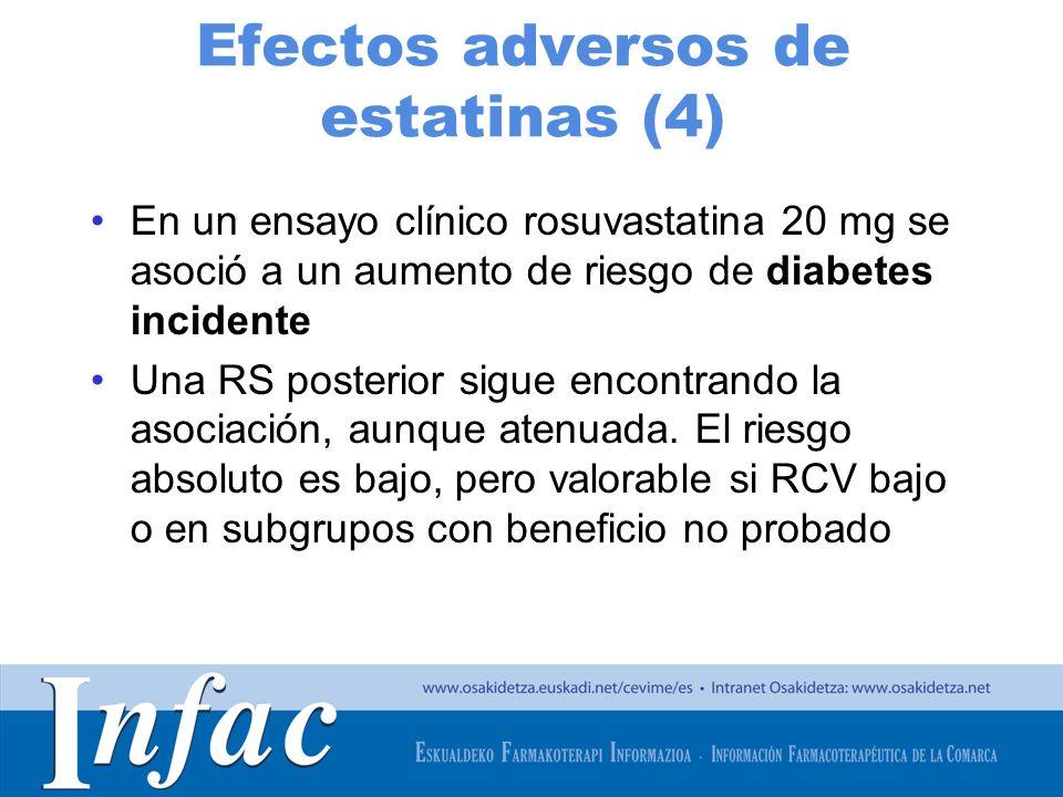 http://www.osakidetza.euskadi.net Efectos adversos de estatinas (4) En un ensayo clínico rosuvastatina 20 mg se asoció a un aumento de riesgo de diabe