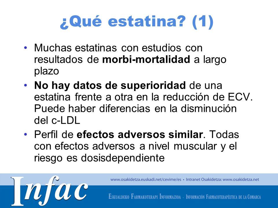 http://www.osakidetza.euskadi.net ¿Qué estatina? (1) Muchas estatinas con estudios con resultados de morbi-mortalidad a largo plazo No hay datos de su