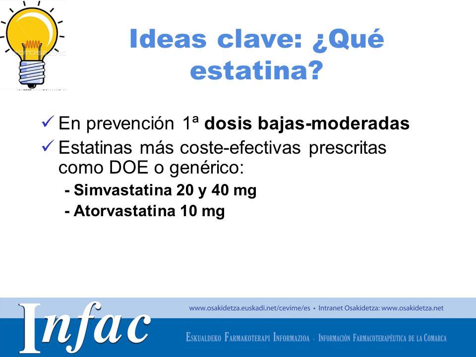 http://www.osakidetza.euskadi.net Ideas clave: ¿Qué estatina? En prevención 1ª dosis bajas-moderadas Estatinas más coste-efectivas prescritas como DOE