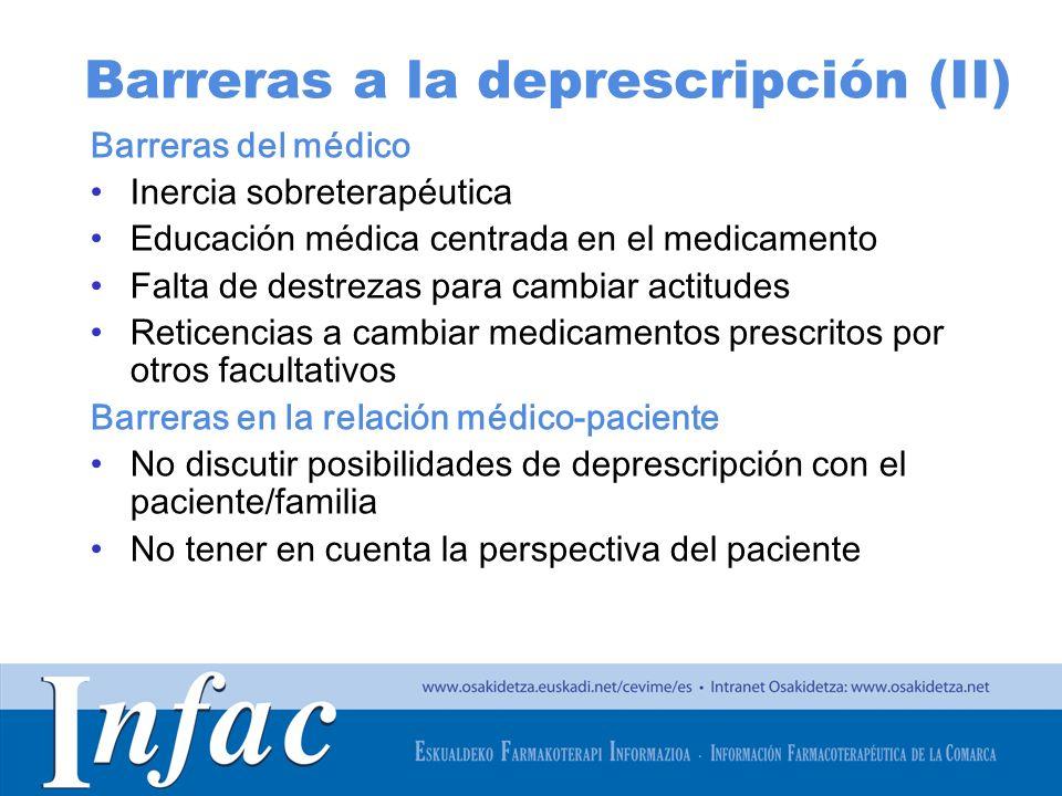 http://www.osakidetza.euskadi.net Barreras a la deprescripción (II) Barreras del médico Inercia sobreterapéutica Educación médica centrada en el medic