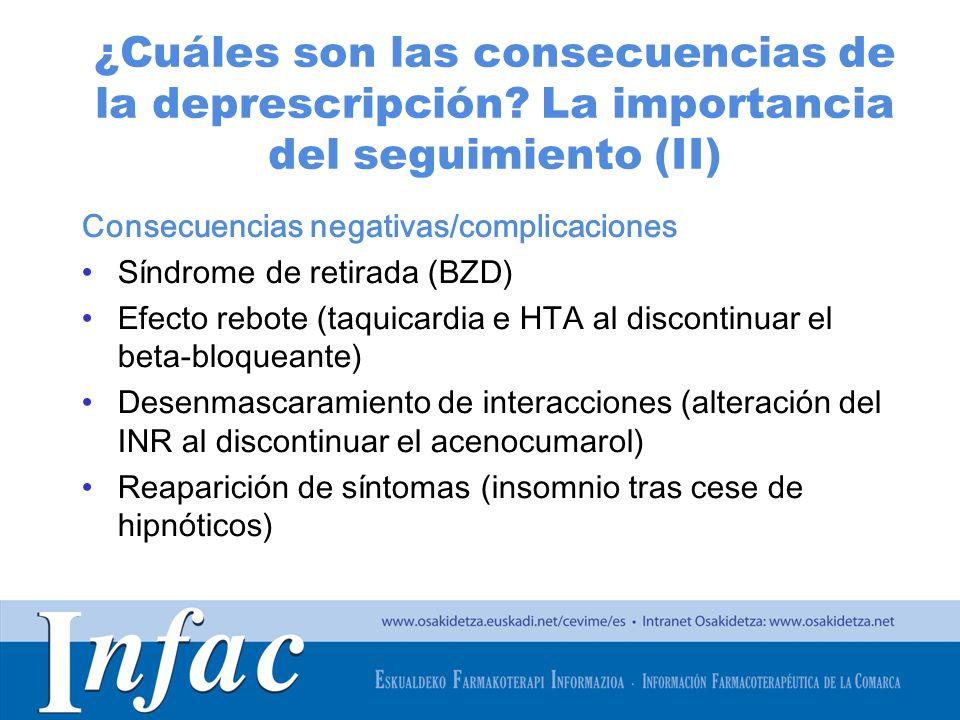 http://www.osakidetza.euskadi.net ¿Cuáles son las consecuencias de la deprescripción? La importancia del seguimiento (II) Consecuencias negativas/comp