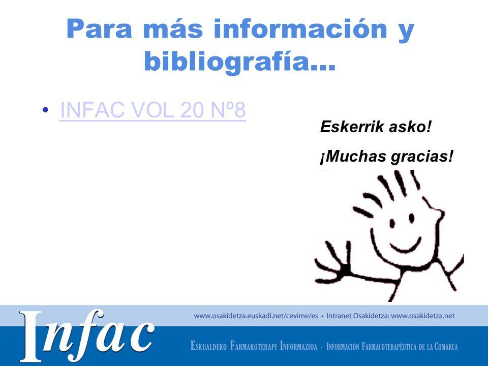 http://www.osakidetza.euskadi.net Para más información y bibliografía… INFAC VOL 20 Nº8 Eskerrik asko! ¡Muchas gracias!