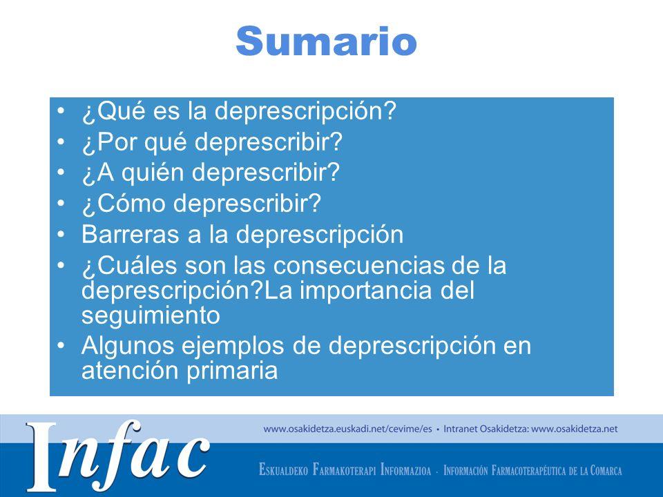 http://www.osakidetza.euskadi.net Sumario ¿Qué es la deprescripción? ¿Por qué deprescribir? ¿A quién deprescribir? ¿Cómo deprescribir? Barreras a la d