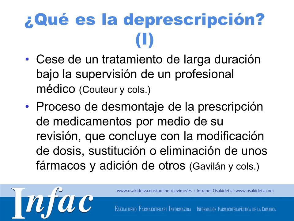 http://www.osakidetza.euskadi.net ¿Qué es la deprescripción? (I) Cese de un tratamiento de larga duración bajo la supervisión de un profesional médico