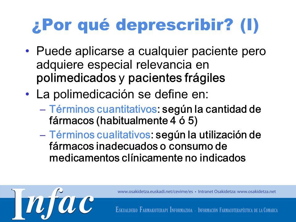 http://www.osakidetza.euskadi.net ¿Por qué deprescribir? (I) Puede aplicarse a cualquier paciente pero adquiere especial relevancia en polimedicados y