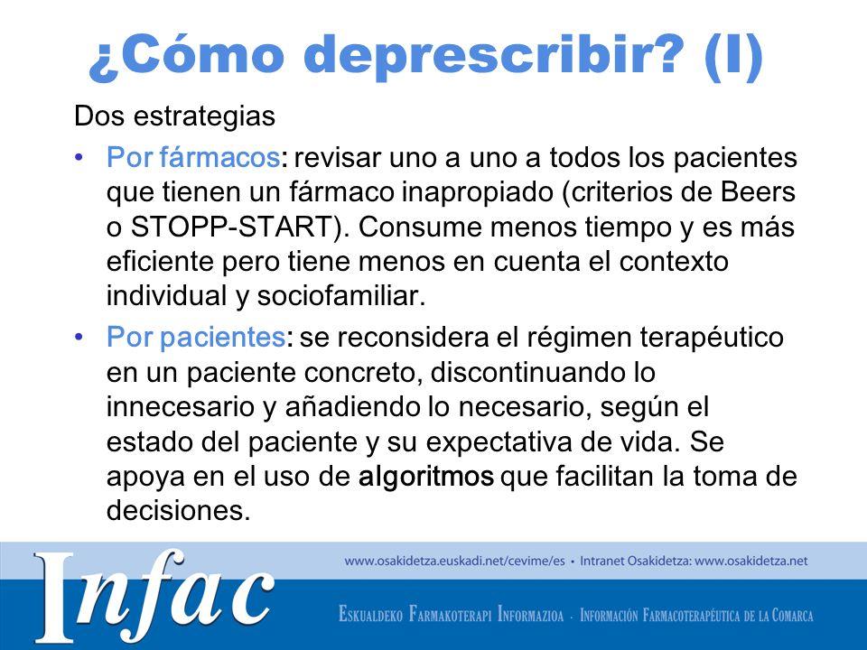 http://www.osakidetza.euskadi.net ¿Cómo deprescribir? (I) Dos estrategias Por fármacos: revisar uno a uno a todos los pacientes que tienen un fármaco