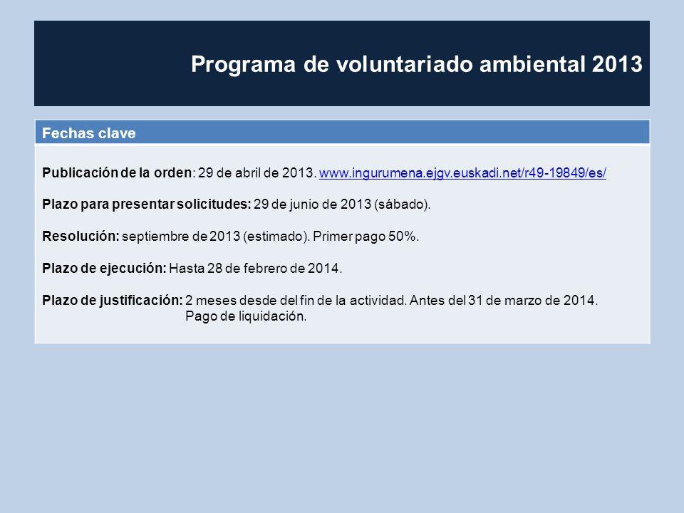 Programa de voluntariado ambiental 2013 Fechas clave Publicación de la orden: 29 de abril de 2013. www.ingurumena.ejgv.euskadi.net/r49-19849/es/www.in