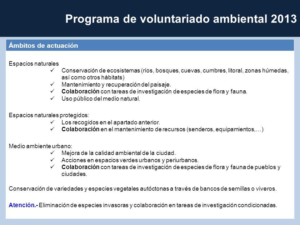 Programa de voluntariado ambiental 2013 Ámbitos de actuación Espacios naturales Conservación de ecosistemas (ríos, bosques, cuevas, cumbres, litoral, zonas húmedas, así como otros hábitats) Mantenimiento y recuperación del paisaje.