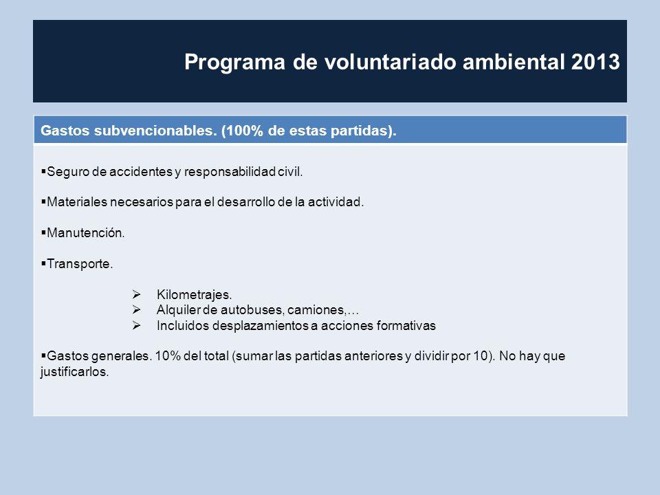 Programa de voluntariado ambiental 2013 Gastos subvencionables. (100% de estas partidas). Seguro de accidentes y responsabilidad civil. Materiales nec