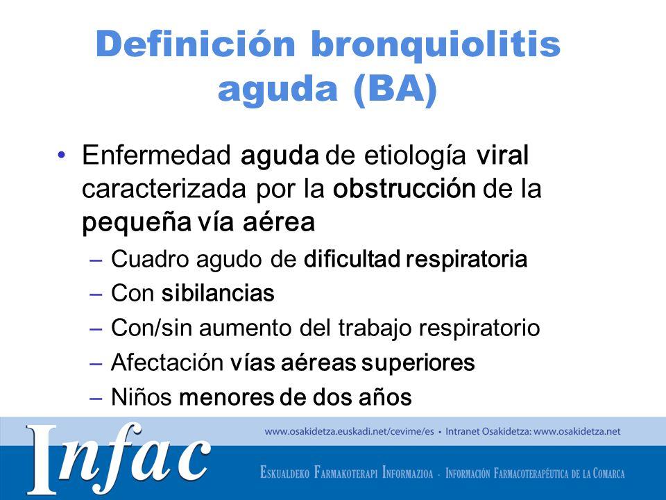 http://www.osakidetza.euskadi.net Características BA Incidencia anual 10% en lactantes Pico entre los 2-6 meses Agente causal más frecuente: virus respiratorio sincitial (VRS) Epidemias en meses más fríos