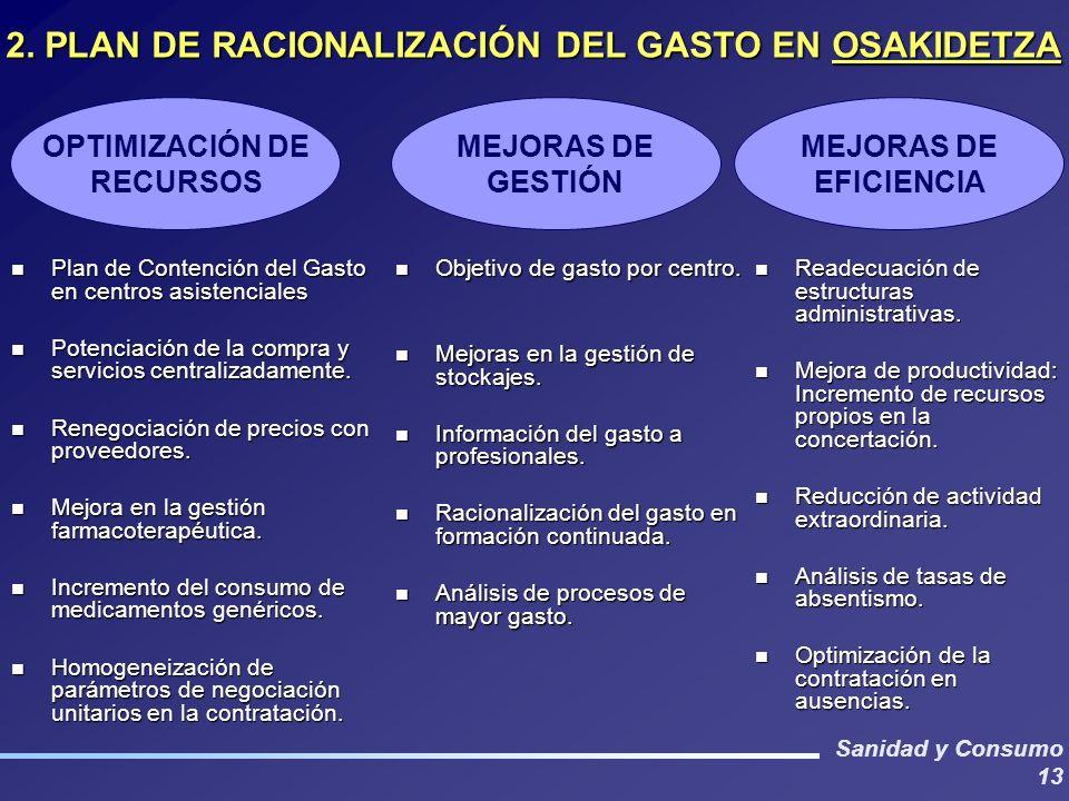 Sanidad y Consumo 13 n Plan de Contención del Gasto en centros asistenciales n Potenciación de la compra y servicios centralizadamente. n Renegociació
