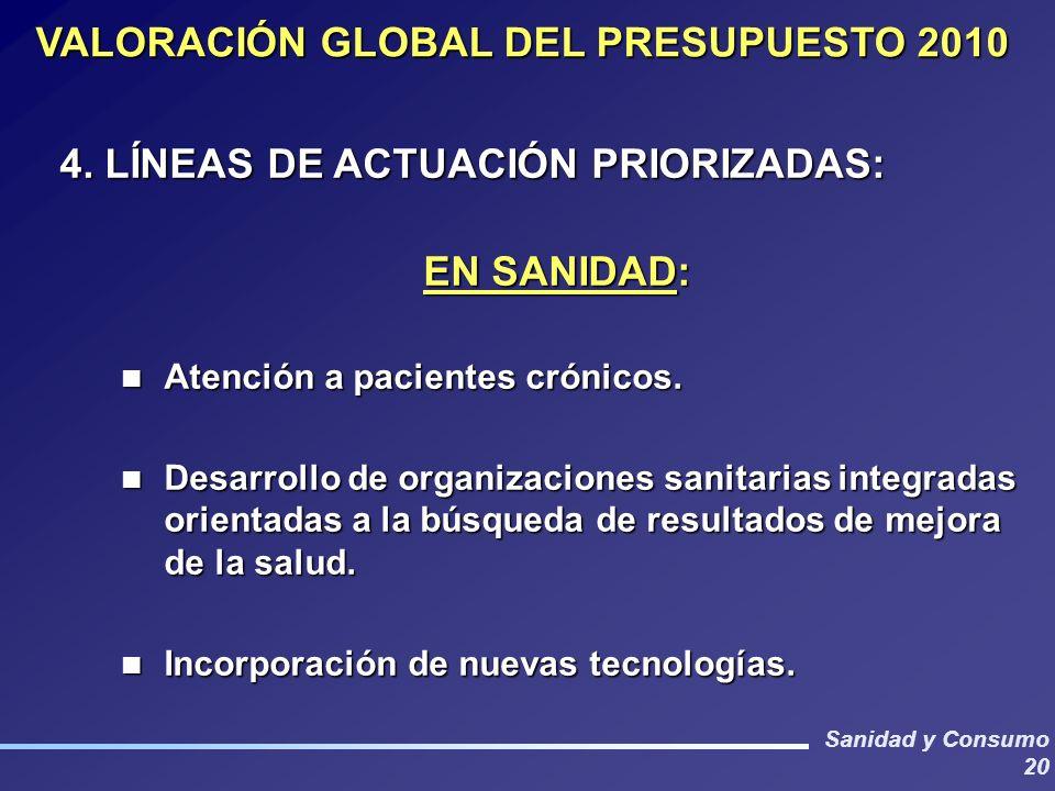 Sanidad y Consumo 20 VALORACIÓN GLOBAL DEL PRESUPUESTO 2010 4. LÍNEAS DE ACTUACIÓN PRIORIZADAS: EN SANIDAD: EN SANIDAD: Atención a pacientes crónicos.