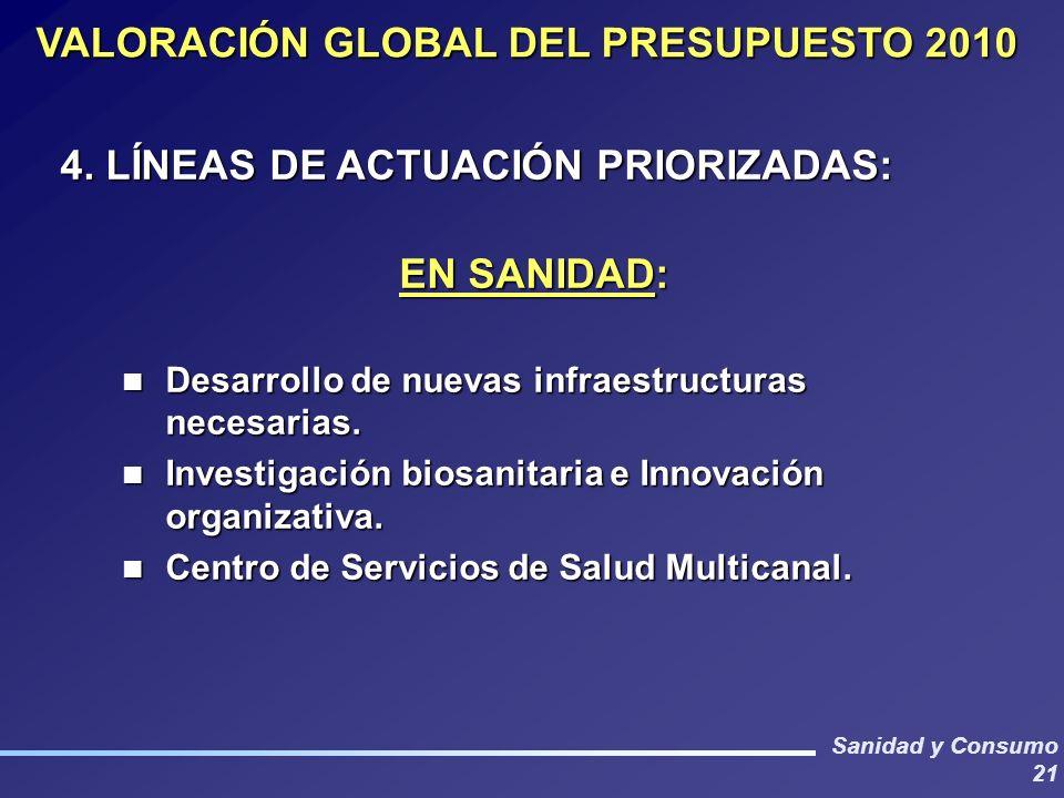 Sanidad y Consumo 21 VALORACIÓN GLOBAL DEL PRESUPUESTO 2010 4.