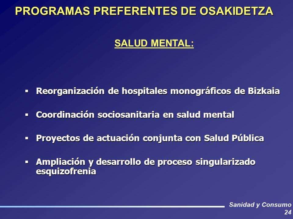 Sanidad y Consumo 24 PROGRAMAS PREFERENTES DE OSAKIDETZA SALUD MENTAL: Reorganización de hospitales monográficos de Bizkaia Reorganización de hospital