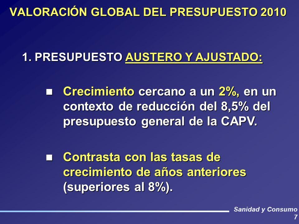 Sanidad y Consumo 7 VALORACIÓN GLOBAL DEL PRESUPUESTO 2010 1. PRESUPUESTO AUSTERO Y AJUSTADO: Crecimiento cercano a un 2%, en un contexto de reducción