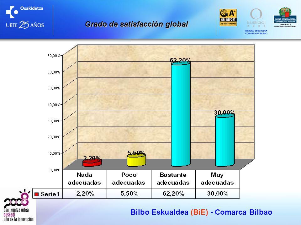 Bilbo Eskualdea (BiE) - Comarca Bilbao Grado de satisfacción global