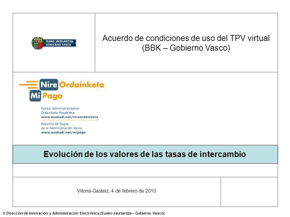 Vitoria-Gasteiz, 4 de febrero de 2010 Acuerdo de condiciones de uso del TPV virtual (BBK – Gobierno Vasco) © Dirección de Innovación y Administración Electrónica (Eusko Jaurlaritza – Gobierno Vasco) Evolución de los valores de las tasas de intercambio