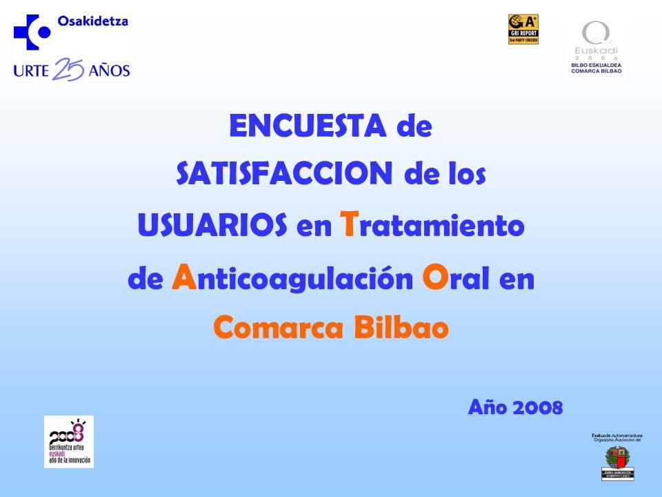 ENCUESTA de SATISFACCION de los USUARIOS en T ratamiento de A nticoagulación O ral en Comarca Bilbao Año 2008
