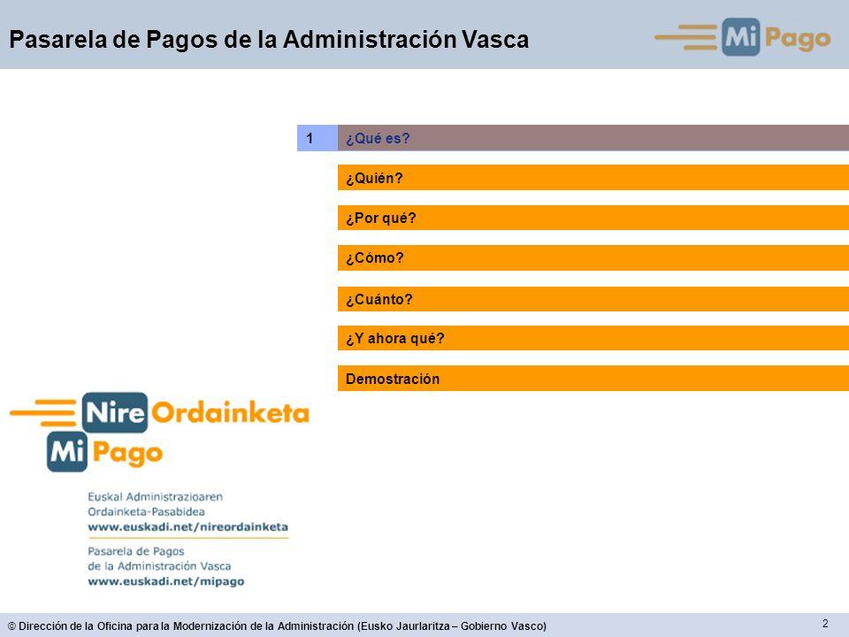 13 © Dirección de la Oficina para la Modernización de la Administración (Eusko Jaurlaritza – Gobierno Vasco) Pasarela de Pagos de la Administración Vasca Modos de pago ¿Cómo.