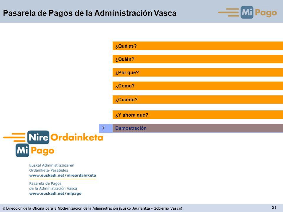 21 © Dirección de la Oficina para la Modernización de la Administración (Eusko Jaurlaritza – Gobierno Vasco) Pasarela de Pagos de la Administración Vasca ¿Quién.