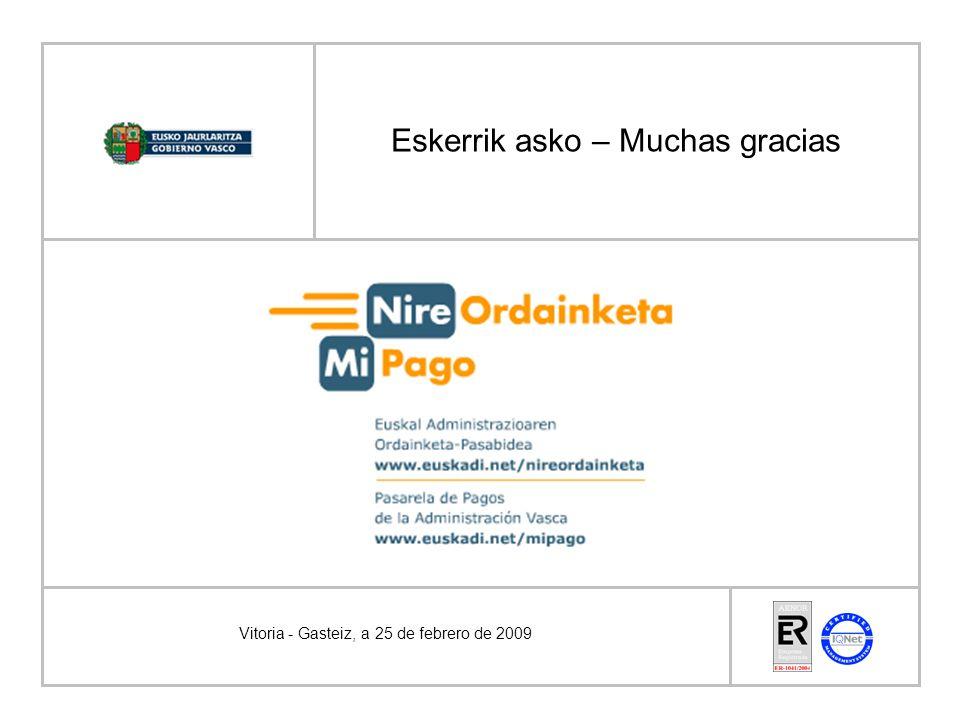 Eskerrik asko – Muchas gracias Vitoria - Gasteiz, a 25 de febrero de 2009