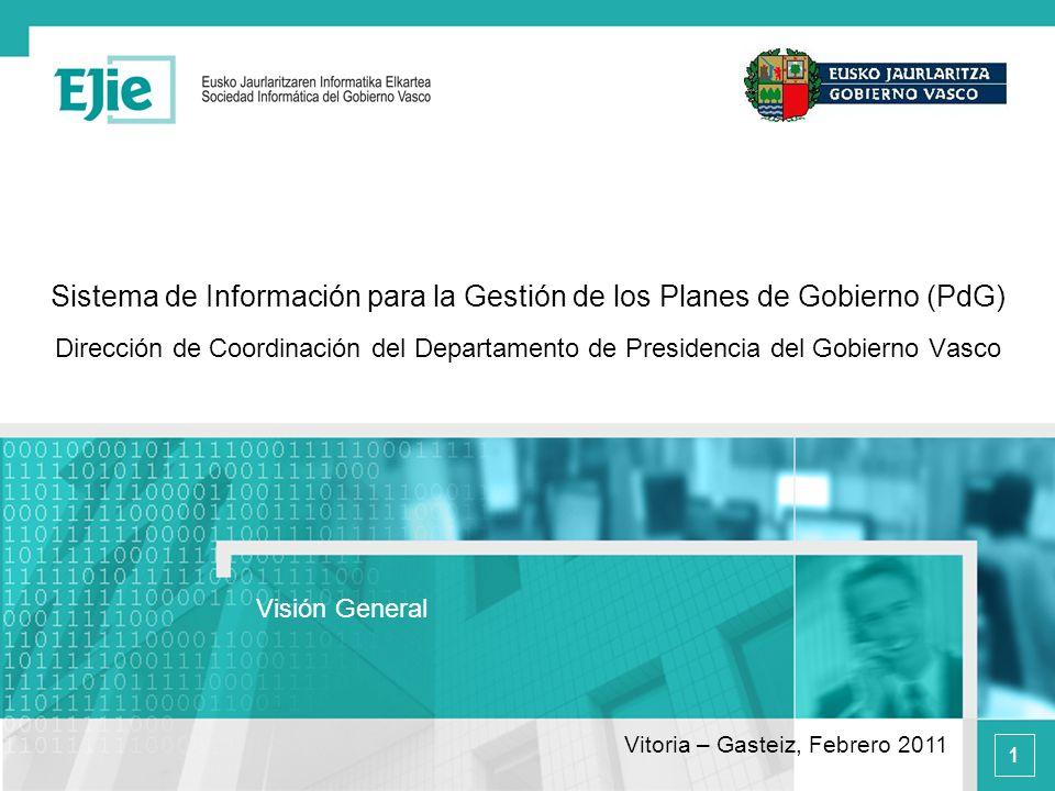1 Sistema de Información para la Gestión de los Planes de Gobierno (PdG) Dirección de Coordinación del Departamento de Presidencia del Gobierno Vasco Visión General Vitoria – Gasteiz, Febrero 2011
